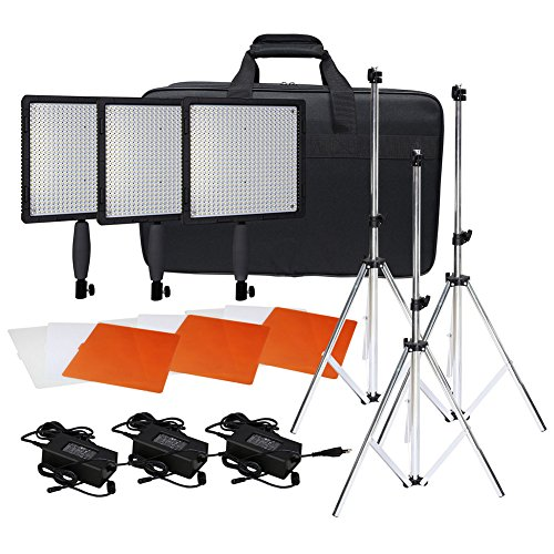 Neewer® CN-576 576PCS LED Dimmable Ultra High Power Panel Digital Camera / Camcorder Video Light Kit, including (3)CN-576 LED Video Light, (3)Adapter, (3)Light Tripod, (3)Filter Kits, (1)Light Bag image