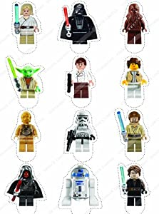 Cakeshop 12 x PRE-CUT Lego Star Wars Stand Up Edible Cake Toppers - Premium Wafer Paper