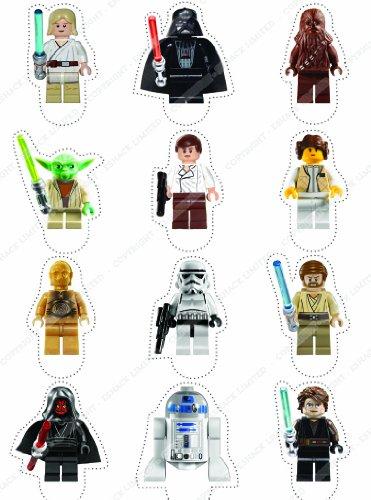Cakeshop 12 x PRE-TAGLIATE Topper Torte Commestibili Erette Lego Star Wars