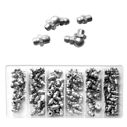 Neiko 110 Pieces Hydraulic Grease Fitting Assortment Set - Sae