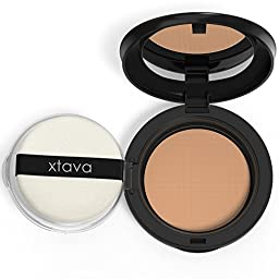 xtava Perfect Skin Powder Pact - Buildable Matte Coverage Pressed Powder SPF 25 - Shine-Free Oil Control for Poreless Results - Compact Makeup Mirror - Cruelty Free - Crafted in Korea (Caramel)