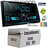 Audi-A3-8P-BOSE-Kenwood-DPX-3000U-2DIN-USB-CD-MP3-Autoradio-Einbauset