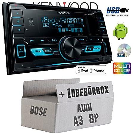 Audi A3 8P BOSE - Kenwood DPX-3000U - 2DIN USB CD MP3 Autoradio - Einbauset