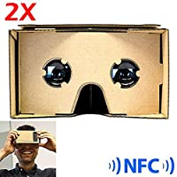 SeresRoad® 2 Pack Unassembled DIY Google Cardboard Cellphone Valencia Quality 3d Vr Virtual Reality 3D Glasses for iPhone Samsung HTC Moto X Nexus 5 Cellphones (2 Pack+NFC) by SeresRoad