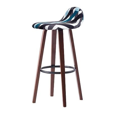 BZEI-Chair Silla de la barra Retro hierro taburete de la barra, marrón madera sólida alto taburete restaurante hogar respaldo creativo comedor silla, cojín de tela desmontable (tamaño: W33 * D33 * H82cm) ( Color : Azul )