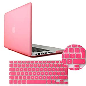 IDACA Pink Frosted Matte Hard Shell Case Cover for Macbook Pro 13.3 -inch A1278 Aluminum Unibody with Silicone Keyboard Cover Skin Stickers Protector (European Version)