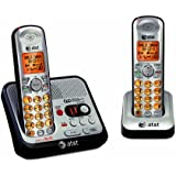 AT&T EL52200 DECT 6.0 Cordless Phone with Answering System and Caller ID/Call Waiting, 2 Handsets, Silver/Black