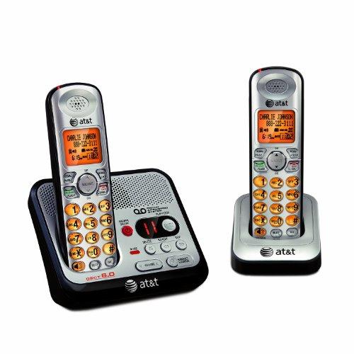 AT&T EL52200 DECT 6.0 Cordless Phone, Silver/Black, 2 Handsets