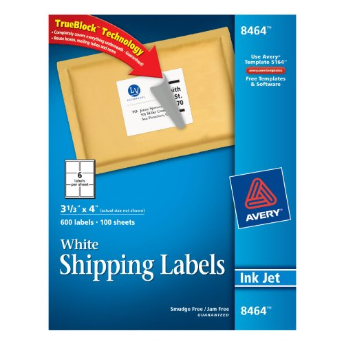 Avery 8464 White Ink Jet Mailing Labels, 3-1/3 X 4, 600 Per Box
