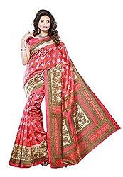 Bansy Fashion Red Coloured Art Silk Printed Saree/Sari