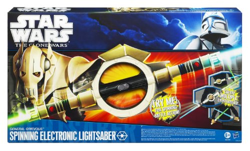 Star Wars The Clone Wars Spinning Electronic Grevious Lightsaber