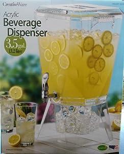 CreatvieWare Acrylic Heavy Duty Chrome Spigot Beverage Dispenser 3.5 Gallon (13.2L) - BPA... by CreativeWare