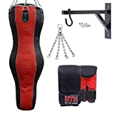 Hit 'Em Hard ® 5ft Real Leather Body Angle Boxing Punch Bag 4pcs Training Fight Mitts Chain