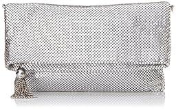 Jessica McClintock Toni Mesh Minibag Foldover Clutch, Silver, One Size