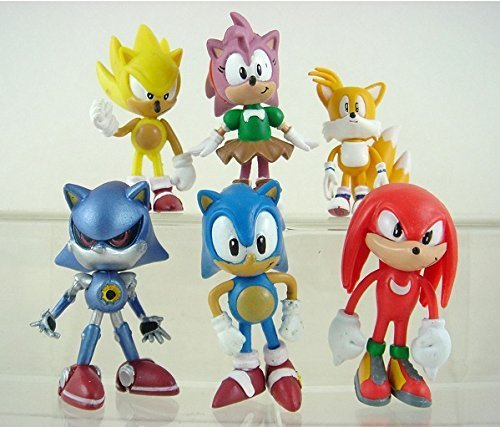 Sonic the Hedgehog Amy Tails Knuckles Mephiles PVC Action Figure 6pcs/set Model Toy Child Anime Gift
