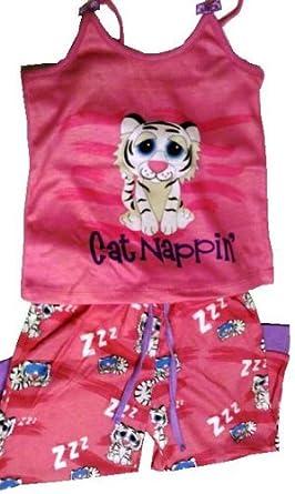 Girls 3T Bright White Tiger Pajamas