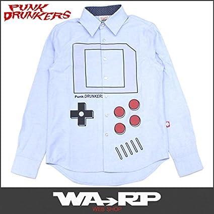 PUNK DRUNKERS パンクドランカーズ ゲーム少年シャツ(LT.BLUE) (XL)