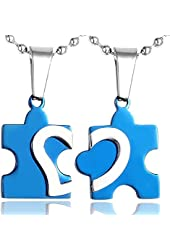 Valentines Day Gift Stainless Steel Matching Heart Couple Necklaces for Him or Her