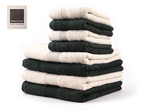 SET asciugamano 8 PEZZI Zucchi HOME FASHION Var. ASFALTO E BEIGE