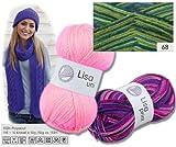 Lisa Strickgarn Schulgarn Strick-Wolle Bastelgarn 100 % Acryl Grün-Blau