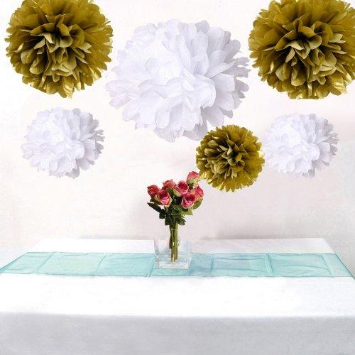 12Pcs Mixed Sizes Gold & White Party Tissue Pom Poms Wedding Pompoms Reception Anniversary Birthday Party Decoration