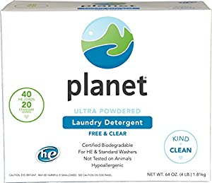 Planet Ultra Powdered He Laundry Detergent, Unscented, 64 Ounce