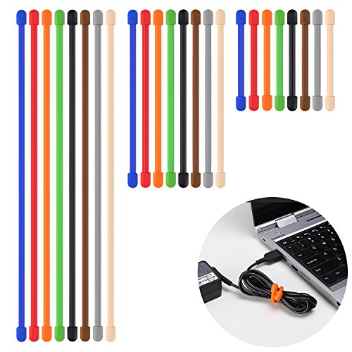Rubber Twist Ties Reusable Gear Ties 24 PCS 8 Colors - Diameter 5mm - 3, 6 and 12 inch Cable Ties Cord Organizer Cord Management for Household, Office, Travel by Lizber (Rubber Electrical Cord compare prices)