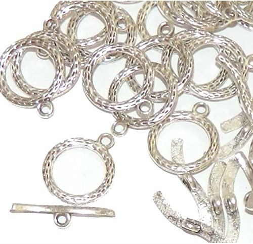 Rockin Beads Brand, 19 Antique Silver 3/4 Inch Toggle Clasps 20mm, Sold Per Pack of 19 Sets (Toggle Clasps For Jewelry Making compare prices)
