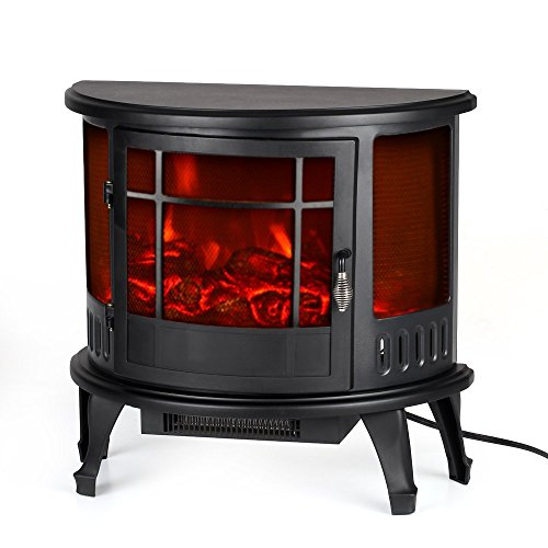 Homgeek Electric Stove Fireplace Heater Free Standing Fire Flame Adjustment Temperature Control, 23