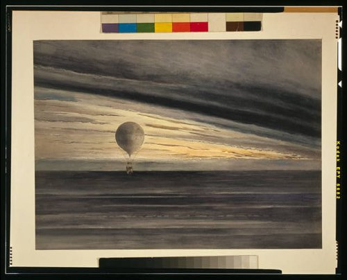 Photo Reprint The balloon Zénith at sunrise or sunset, with five passengers during a long distance flight from Paris