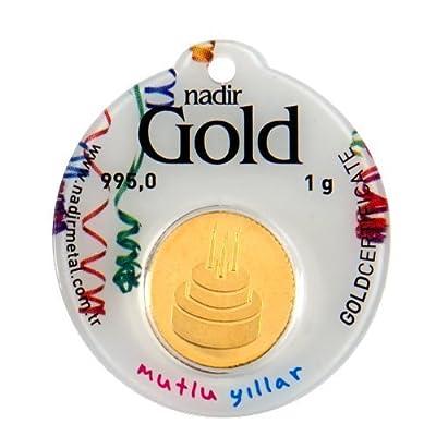 Nadir Rundbarren Goldbarren Goldgeschenke für Geburtstag 1 Gramm Gold , Geburtstagsgeschenke mit Geschenkbeutel