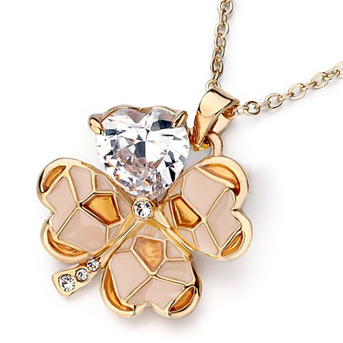 Pugster Golden Four-Leaf Clover April Birthstone Clear Swarovski Valentine Pendants Necklace