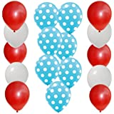 30 pc Dr Seuss Cat in the Hat Party Balloon Kit: 12 Red 12 White 6 Blue w White Dot Latex