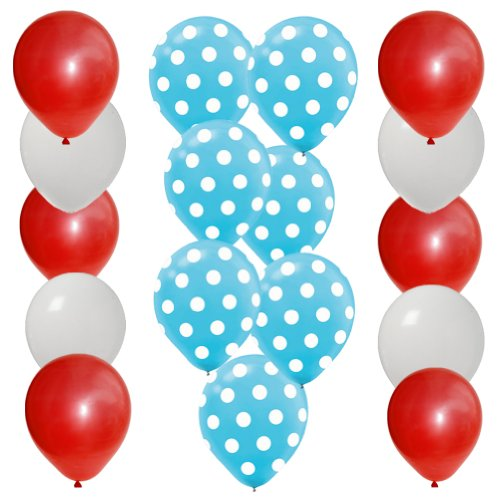 Best Price 30 pc Dr Seuss Cat in the Hat Party Balloon Kit: 12 Red 12 White 6 Blue w White Dot Latex