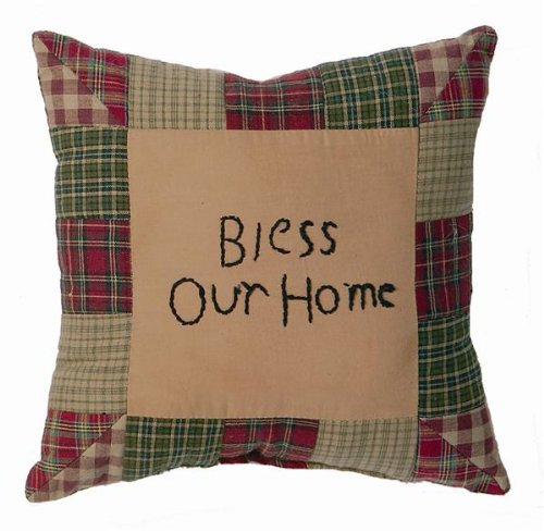 Tea Cabin Pillow Bless Our Home 10X10""