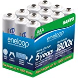 eneloop AAA 1800 cycle, Ni-MH Pre-Charged Rechargeable Batteries, 12 Pack