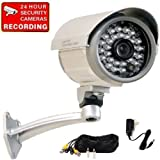 """VideoSecu Outdoor Built-in 1/3"""" SONY CCD CCTV Day Night Vision Security Camera IR Infrared Leds Wide Angle Lens with Power Supply, Cable and Bonus Surveillance Warning Decal 1OC ~ VideoSecu"""