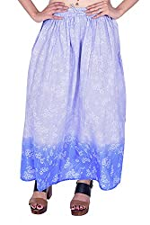 MSONS Women's Fusion Wear Blue Floral Printed Long Maxi Skirt in Cotton Fabric - Free Size