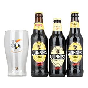 Guinness Taste the difference Gift Set - 1x FES 330ml 1x Nigerian 325ml 1x Original 330ml with Guinness Toucan Pint Glass