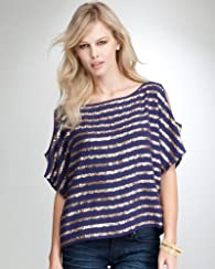 Sequin Stripe Cold Shoulder Top