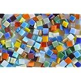 1000 Stück Glas Mosaiksteine Buntmix 1x1cm aus ca. 30 Farben ca. 700g.
