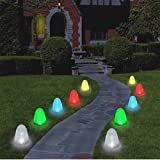"Set of 10 - 8"" Tall Sugar Coated LED Gumdrop Christmas Pathway Lights"