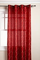 Stylemaster Hudson 55 by 84-Inch Embroidered Faux Silk Brass Grommet Panel, Crimson