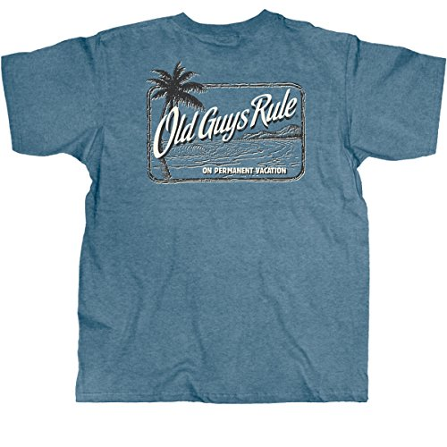 Old Guys Rule Mens On Permanent Vacation T-Shirt X-Large Heather Indigo
