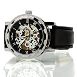 Vantasy Men's Black Dial Leather Strap Luxury Stainless Case Hand-Wind Up Mechanical Wrist Watch