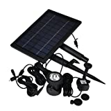 Instapark® GYX004L Solar-powered 2-speed Water Pump with 1,500 mAh Rechargeable Battery Back-up & 6-LED Dusk-to-Dawn Spot Light