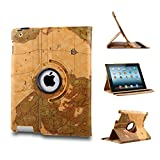 Revesun Classical Auto Sleep/Wake Function 360 Degree Rotating Smart Cute Case Cover for ipad mini 3 (3th Gen) with a Stylus as a Gift--World Map Pattern,Yellow