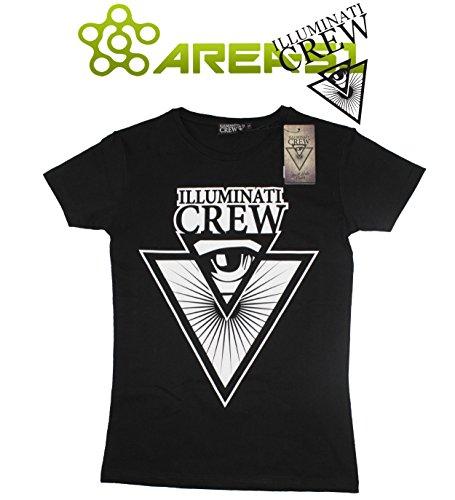 T-shirt Illuminati Crew Nero con stampa (S)