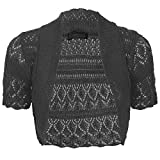 Thever Women Short Sleeve Knitted Crochet Shrug Bolero Cardigan Ladies Crop Top (L(14-16), Black)