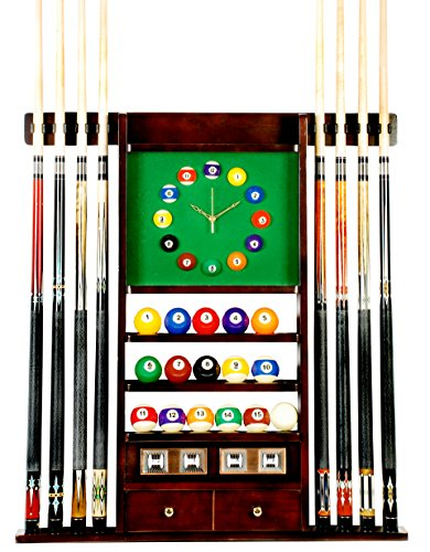 Cheapest Prices! Cue Rack Only - 8 Pool - Billiard Stick & Ball Set Wall Rack W Clock Mahogany F...